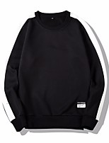 cheap -Men's Sports Sweatshirt - Solid Round Neck