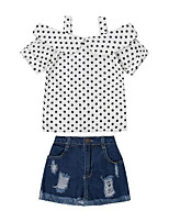 cheap -Girls' Daily Going out Polka Dot Clothing Set, Rayon Summer Short Sleeves Casual Street chic White