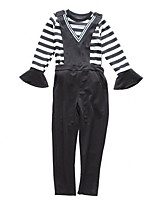 cheap -Girls' Daily Holiday Solid Striped Clothing Set, Cotton Polyester Spring Fall Short Sleeves Long Sleeves Simple Casual Black
