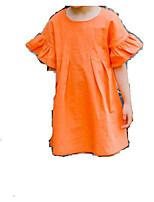 abordables -Robe Fille de Quotidien Couleur Pleine Coton Eté Manches Courtes simple Rouge