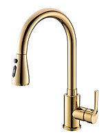 cheap -Ordinary Contemporary Pull-out/­Pull-down Centerset Widespread Comfy Ceramic Valve Single Handle One Hole Ti-PVD, Kitchen faucet