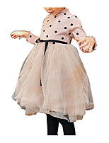 cheap -Girl's Daily Holiday Polka Dot Dress, Polyester Spring Long Sleeves Simple Black Blushing Pink