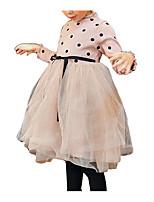 Недорогие -Девичий Платье Повседневные Праздники Полиэстер Горошек Весна Длинный рукав Простой Черный Розовый