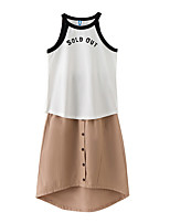 cheap -Girls' Holiday Geometric Clothing Set, Polyester Summer Sleeveless Simple White