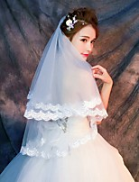 cheap -One-tier Bohemian Style Wedding Veil Fingertip Veils 53 Ruched POLY