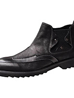 cheap -Men's Shoes Cowhide Nappa Leather Spring Fall Combat Boots Comfort Boots Booties/Ankle Boots for Casual Black