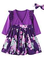 cheap -Girl's Daily Floral Patchwork Dress, Cotton Polyester Spring Fall Long Sleeves Cute Casual Purple