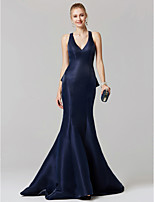 cheap -Mermaid / Trumpet Plunging Neckline Sweep / Brush Train Satin Prom / Formal Evening Dress with Cascading Ruffles by TS Couture®