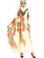 baratos -Mulheres Boho Solto Vestido - Básico Estampado, Floral Longo