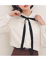Недорогие -Жен. Рубашка, Рубашечный воротник Однотонный