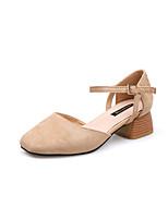economico -Per donna Scarpe PU (Poliuretano) Primavera Estate Comoda Tacchi Heel di blocco Punta tonda per Casual Nero Beige