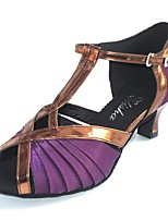 cheap -Women's Latin Leatherette Satin Heel Indoor Customized Heel Purple Customizable