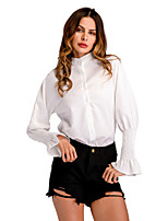 cheap -Women's Work Flare Sleeve Slim Shirt - Solid, Ruffle Stand