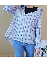 cheap -Women's Simple Cotton Shirt - Plaid Shirt Collar