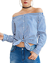 cheap -Women's Beach Shirt - Striped Boat Neck Stand