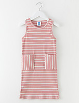 cheap -Girl's Daily Striped Dress, Polyester Summer Sleeveless Simple Blushing Pink Light Blue