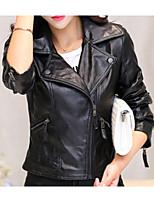 Недорогие -Жен. Кожаные куртки Рубашечный воротник На каждый день-Однотонный