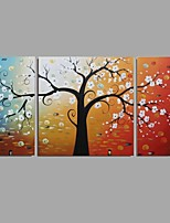 cheap -Hand-Painted Abstract Floral/Botanical Horizontal Panoramic, Comtemporary Modern Canvas Oil Painting Home Decoration Three Panels