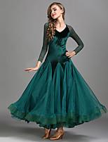 cheap -Ballroom Dance Dresses Women's Training Performance Lace Velvet Lace Long Sleeves High Dress