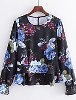 cheap -Women's Holiday Basic Blouse - Floral, Ruffle Print