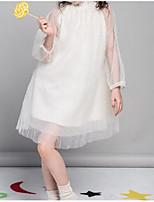 abordables -Robe Fille de Quotidien Couleur Pleine Coton Printemps Eté Manches Longues Mignon Actif Blanc Rose Claire