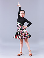 abordables -Danse latine Robes Fille Entraînement Utilisation Fibre de Lait Motif / Impression Combinaison Manches Longues Taille moyenne Robe