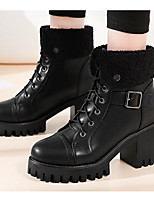 cheap -Women's Shoes PU Fall Winter Bootie Comfort Boots Chunky Heel Booties/Ankle Boots for Casual Black Gray Khaki