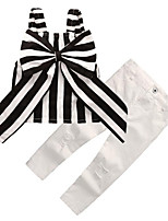 cheap -Girls' Daily Going out Striped Clothing Set, Rayon Summer Sleeveless Casual Street chic White