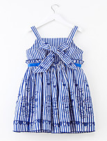 cheap -Girl's Daily Holiday Striped Dress, Cotton Polyester Spring Summer Sleeveless Simple Active Blue Blushing Pink