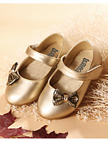 cheap -Girls' Shoes Leatherette Spring Fall Comfort Flats Bowknot Sparkling Glitter for Outdoor Dress Gold Silver
