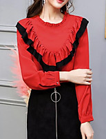 cheap -Women's Daily Simple Blouse Round Neck Long Sleeves Polyester
