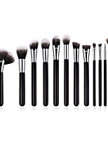 cheap -11pcs Suits Foundation Brush Powder Brush Lip Brush Blush Brush Nylon Soft Full Coverage Beech Wood Wood Cosmetic Face Nose Special