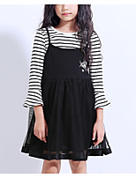 cheap -Girl's Daily Striped Dress, Polyester Spring Summer Long Sleeves Vintage Navy Blue