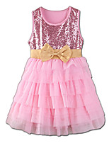 cheap -Girl's Party Daily Solid Colored Patchwork Dress Summer Sleeveless Cute Active Blushing Pink