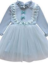abordables -Robe Fille de Quotidien Vacances Couleur Pleine Rayonne Acrylique Polyester Spandex Printemps Manches Longues simple Actif Rose Claire