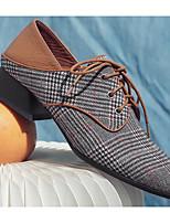 abordables -Femme Chaussures Cuir Printemps Automne Confort Oxfords Talon Bottier pour Brun claire