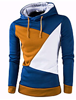 cheap -men's daily simple color block hooded hoodie short, long sleeves spring polyester