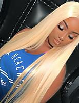 economico -Capello integro Lace frontale Parrucca Brasiliano Liscio Con ciuffetti 150% Densità 100% Vergine Attaccatura dei capelli naturale Corto