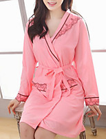Недорогие -Жен. Глубокий V-образный вырез Костюм Пижамы Контрастных цветов