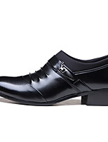 cheap -Men's Shoes Patent Leather Spring Fall Comfort Loafers & Slip-Ons Buckle for Office & Career Party & Evening Black Brown