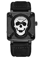 cheap -BAOGELA Men's Fashion Watch Sport Watch Chinese Quartz Skull Genuine Leather Band Skull Fashion Black Brown