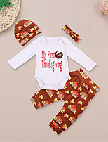 cheap -Baby Unisex Daily Sports Floral Clothing Set, Cotton Spring Fall Cute Casual Long Sleeves Khaki