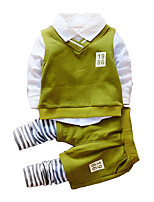 cheap -Girls' Daily Striped Clothing Set, Polyester Spring Long Sleeves Simple Green Wine