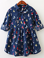 cheap -Girl's Daily Going out Solid Print Jacquard Dress, Cotton Spring Summer Long Sleeves Vintage Cute White Navy Blue