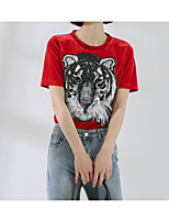 cheap -Women's Basic Cotton Slim T-shirt - Animal, Sequins