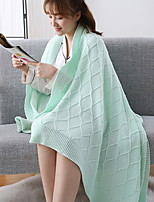 cheap -Knitted, Yarn Dyed Solid Colored Geometric Cotton Blankets