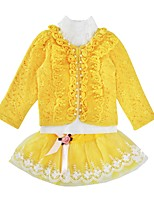 cheap -Girls' Daily Holiday Print Clothing Set, Cotton Polyester Spring Fall Long Sleeves Cute Yellow