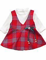 abordables -Robe Fille de Quotidien Couleur Pleine Polyester Printemps Manches Longues Rétro Vert Rouge Jaune