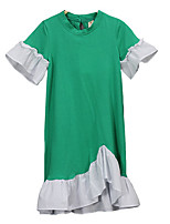cheap -Girl's Daily Solid Dress, Cotton Spring Summer Short Sleeves Simple Green