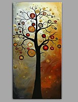 cheap -Hand-Painted Abstract Floral/Botanical Vertical Panoramic, Comtemporary Modern Canvas Oil Painting Home Decoration One Panel